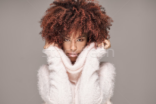 Beautiful woman with afro hairstyle posing. Stock photo © NeonShot