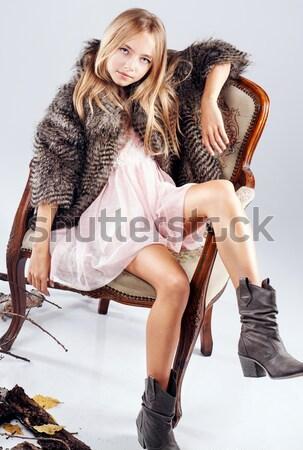 ファッション 写真 若い女の子 ジーンズ 美しい ブロンド ストックフォト © NeonShot