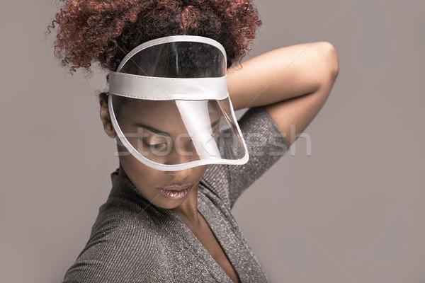 Szépség portré lány afro hajviselet afroamerikai Stock fotó © NeonShot