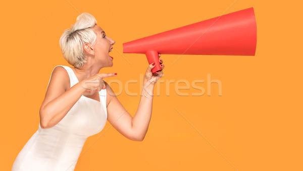 средний возраст улыбающаяся женщина красный мегафон элегантный Сток-фото © NeonShot