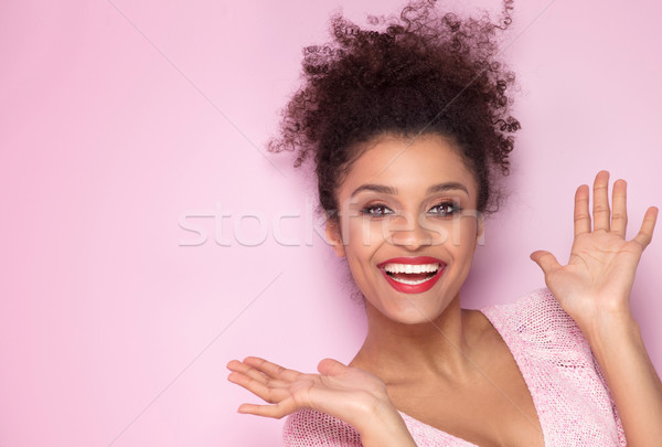 Beauty portrait of young natural afro girl. Stock photo © NeonShot