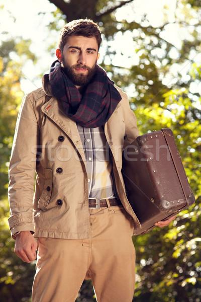 Moda erkekler sonbahar park moda fotoğraf Stok fotoğraf © NeonShot