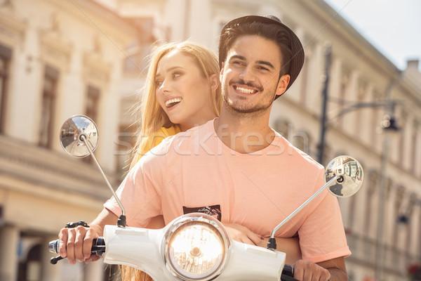 пару любви верховая езда красивой улыбающаяся женщина Сток-фото © NeonShot