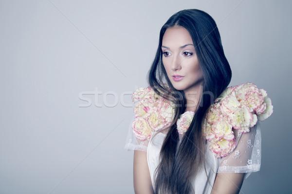 Beauty portrait of brunette young girl , spring. Stock photo © NeonShot
