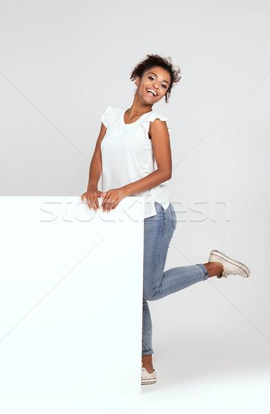 улыбаясь афроамериканец женщину пусто красивая женщина Сток-фото © NeonShot