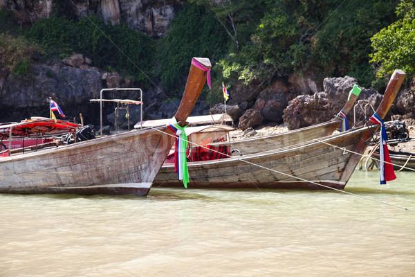 Photo stock: Longtemps · queue · bateau · Thaïlande · traditionnel · bateaux