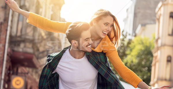 Stock photo: Smiling beautiful couple dating outdoors.