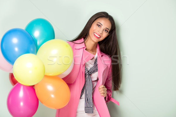 Stock photo: Happy young woman posing,.