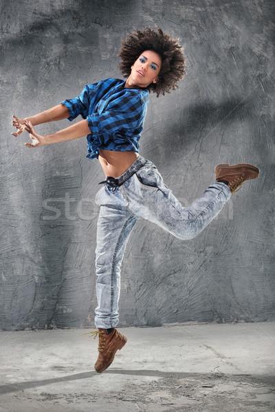 Stok fotoğraf: Genç · kız · dans · atlama · genç · kentsel · hip · hop