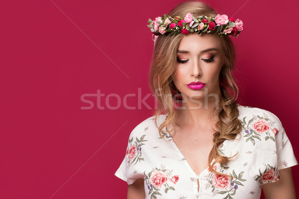 Beauty female model with flowers headband. Stock photo © NeonShot