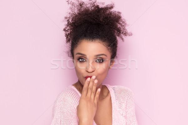 美 肖像 小さな 自然 アフロ 少女 ストックフォト © NeonShot
