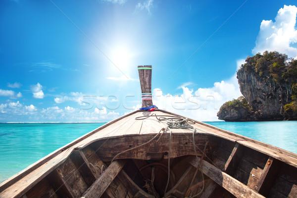 Długo ogon łodzi Tajlandia tradycyjny łodzi Zdjęcia stock © NeonShot