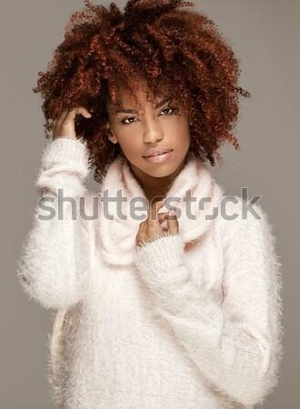 Sensuale african american donna posa bella afro Foto d'archivio © NeonShot