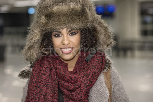 Young girl in winter hat and scarf. Stock photo © NeonShot