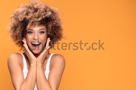 Beauté portrait souriant fille afro coiffure Photo stock © NeonShot