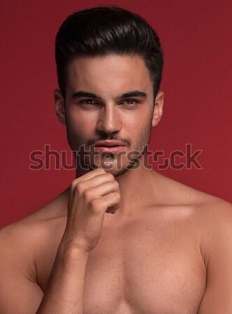 Hombre guapo posando top-less muscular encajar cuerpo Foto stock © NeonShot