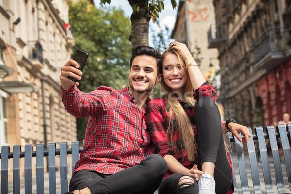 Sorridente belo casal namoro ao ar livre amor Foto stock © NeonShot