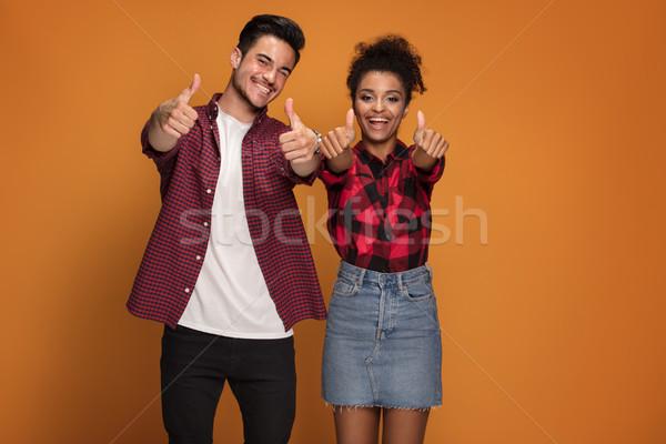 счастливым случайный пару красивой улыбаясь Сток-фото © NeonShot