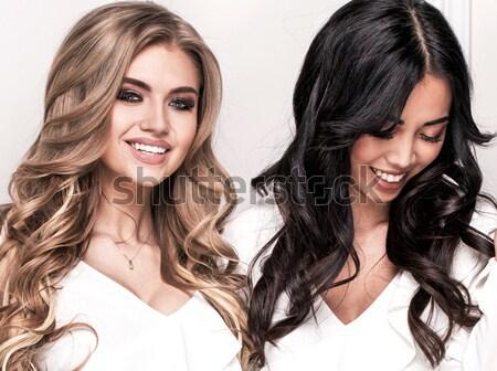 Twee sensueel meisjes poseren samen mooie Stockfoto © NeonShot
