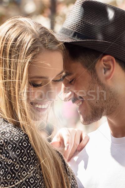 Güzel çift kalma gülen açık havada Stok fotoğraf © NeonShot