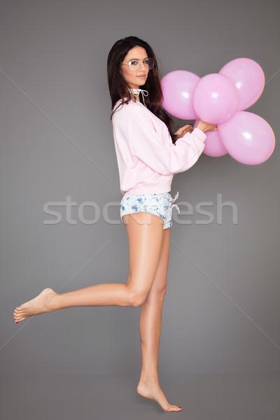 美少女 ポーズ ピンク 風船 美しい 白人 ストックフォト © NeonShot