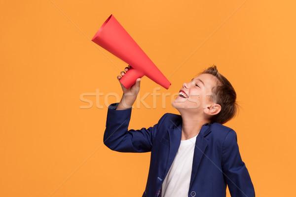 エレガントな 少年 メガホン 赤 オレンジ ストックフォト © NeonShot