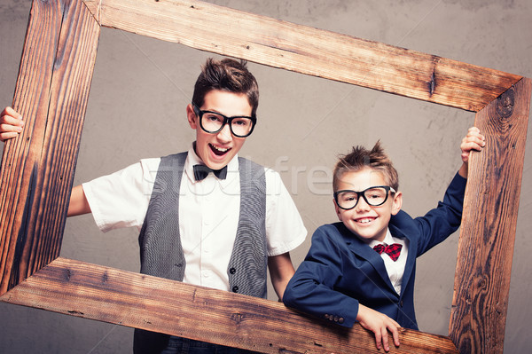 Portrait of two young elegant brothers. Stock photo © NeonShot