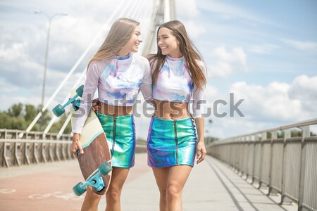 Stok fotoğraf: Iki · güzel · ikizler · zaman · birlikte