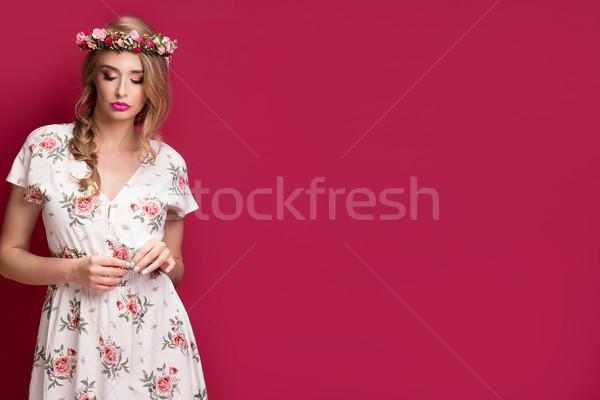 красоту женщины модель цветы моде портрет Сток-фото © NeonShot