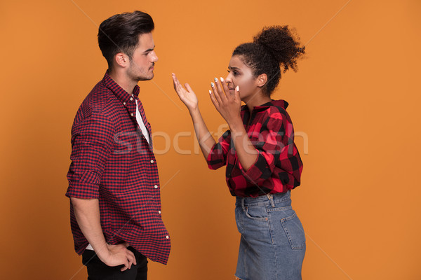 Young mixed race couple arguing. Stock photo © NeonShot