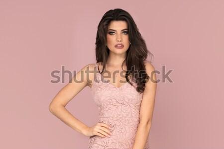 Attractve delicate brunete beauty portrait. Stock photo © NeonShot