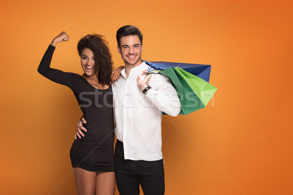 Photo stock: Heureux · couple · posant · belle · souriant