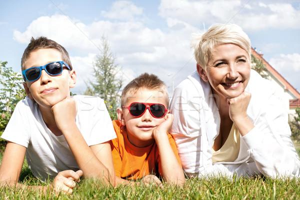 Stock fotó: Portré · boldog · család · gyönyörű · anya · kettő · fiatal