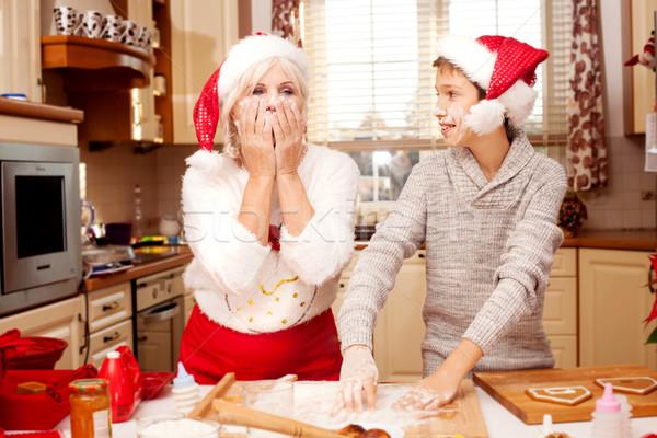 Avó neto cozinha natal sorridente Foto stock © NeonShot
