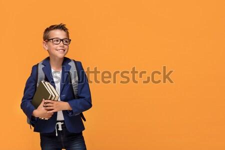男子生徒 リュックサック 図書 眼鏡 立って ストックフォト © NeonShot