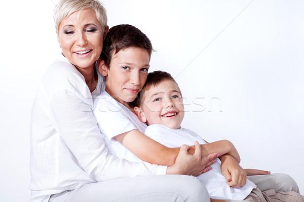 Családi portré anya család fotó gyönyörű szőke nő Stock fotó © NeonShot
