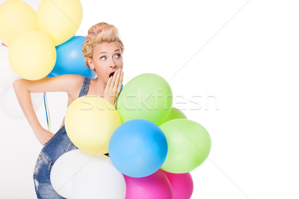 Blond meisje ballonnen huisvrouw poseren studio Stockfoto © NeonShot