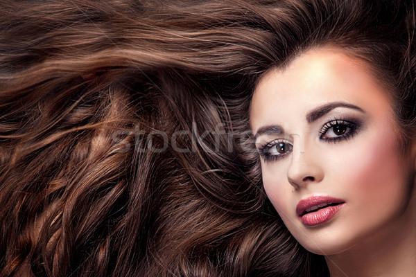 Photo stock: Beauté · portrait · fille · cheveux · longs · belle · fille · longtemps