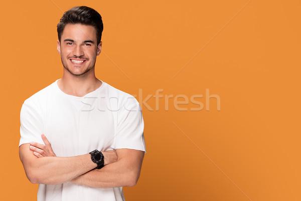 写真 ハンサム 笑みを浮かべて 男 若い男 美しい ストックフォト © NeonShot