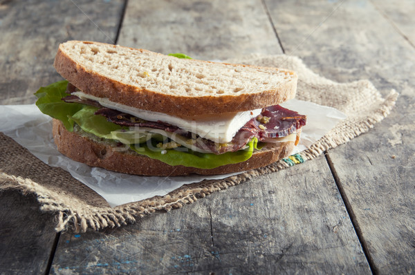 Sandwich from smoked meat Stock photo © nessokv
