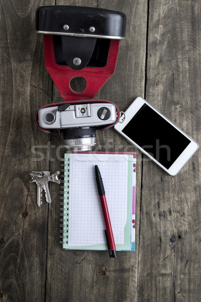 Rétro caméra personnelles portable clé Photo stock © nessokv