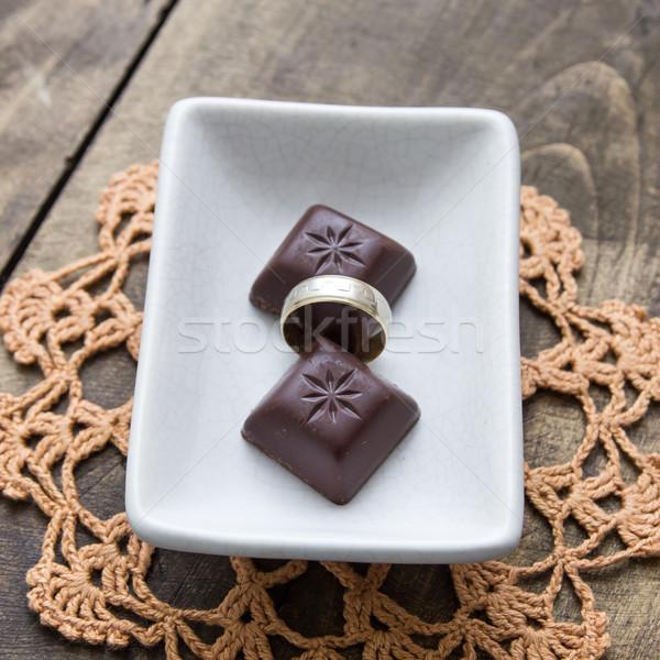 édes szeretet kettő csokoládé rácsok gyűrű Stock fotó © nessokv