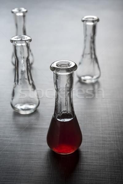 Lövés üveg alkoholos ital fából készült felület asztal Stock fotó © nessokv