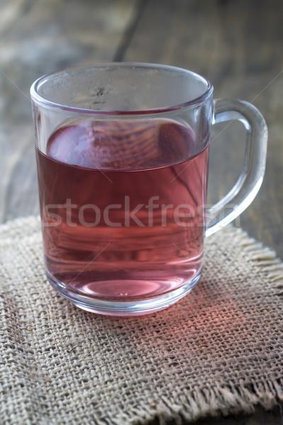 Vidro copo chá madeira projeto Foto stock © nessokv