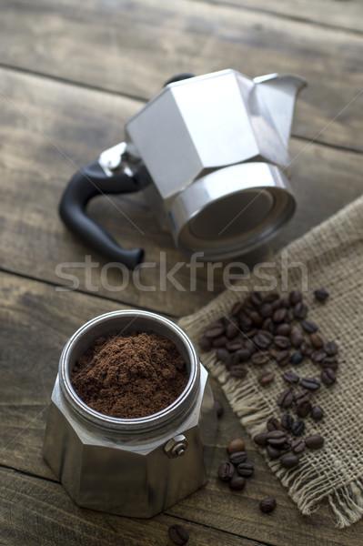 Preparing coffee with italian coffee maker Stock photo © nessokv