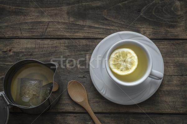 Citroen houten tafel hout vruchten drinken Stockfoto © nessokv