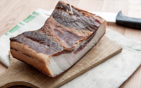 Piece of smoked pork bacon Stock photo © nessokv