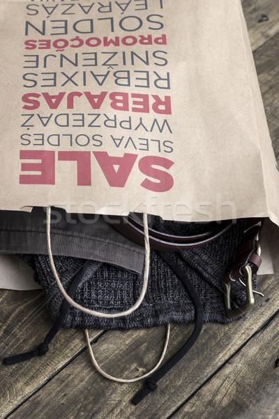 紙 ショッピングバッグ 木製 背景 スタジオ ストックフォト © nessokv