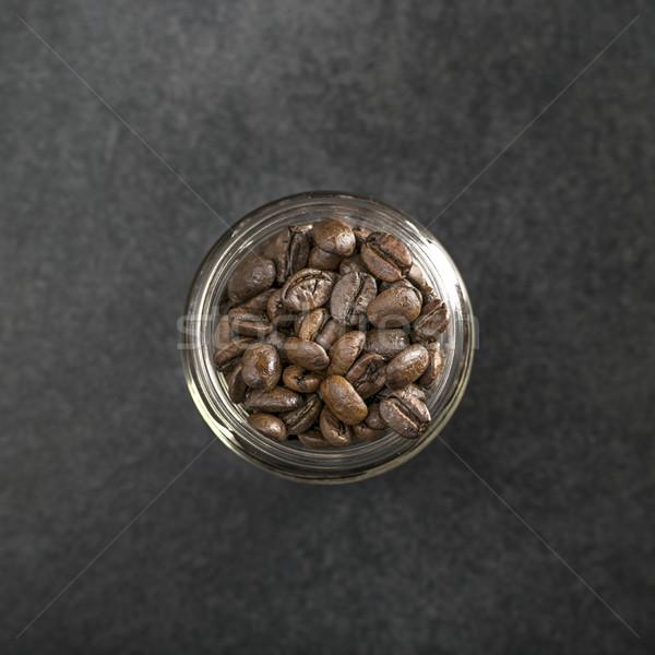 Topo ver grãos de café jarra vidro energia Foto stock © nessokv