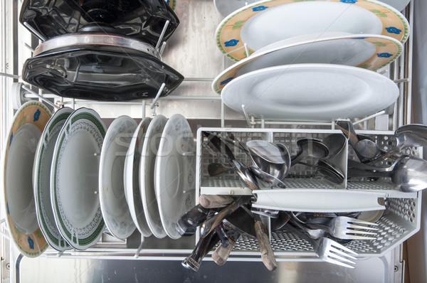 Yemek yıkayıcı kirli bulaşık mutfak gereçleri Stok fotoğraf © nessokv